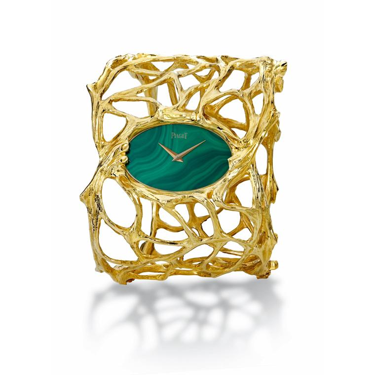 Piaget vintage cuff watch in yellow gold with a malachite dial