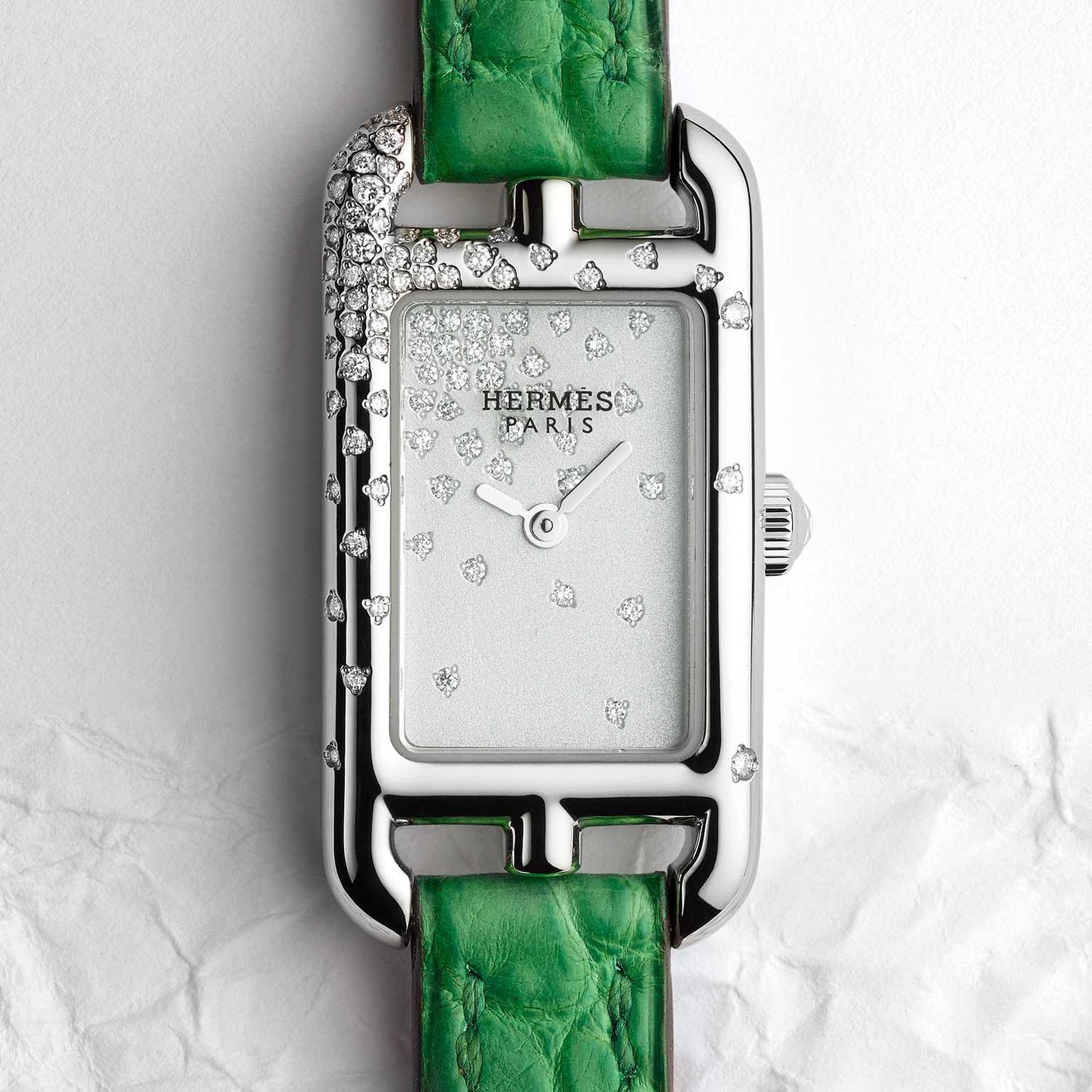 Hermès Nantucket Jeté de diamants watch with green alligator strap