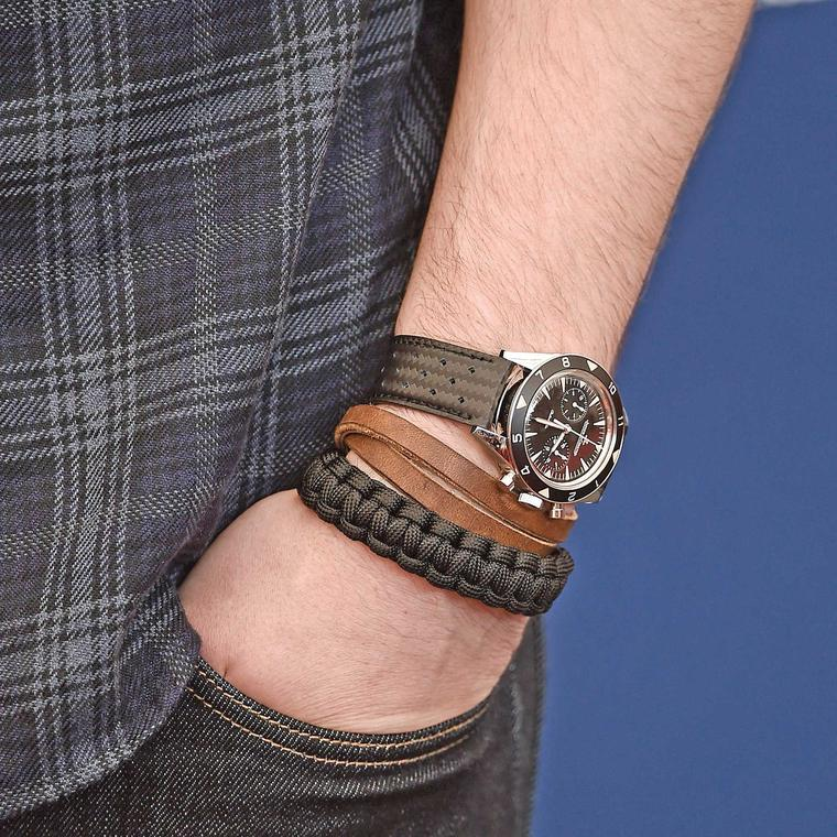 Actor Nicholas Hoult wearing the Jaeger-LeCoultre Deep Sea Chronograph