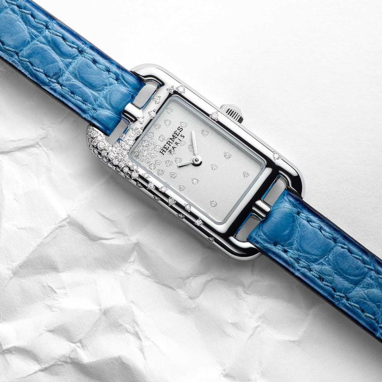 Hermès Nantucket Jeté de diamants watch with blue alligator strap