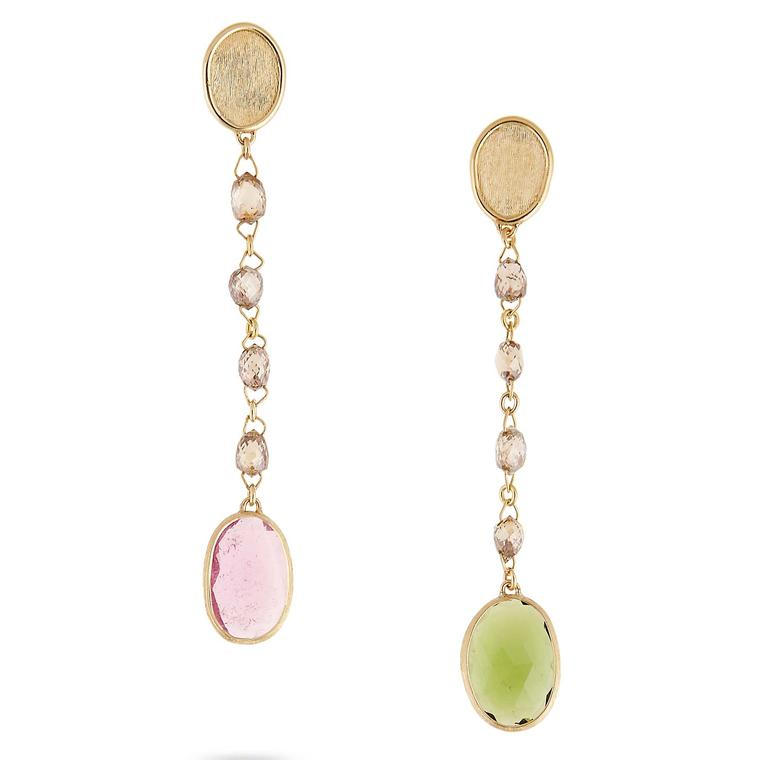 Unico pink and green tourmaline drop earrings