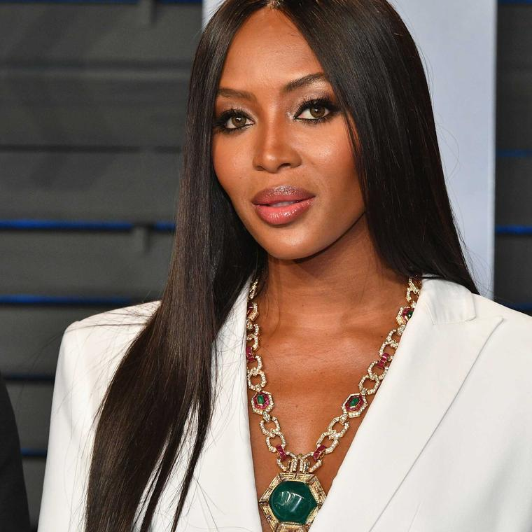 Naomi Campbell wearing Bulgari emerald necklace Oscars 2018