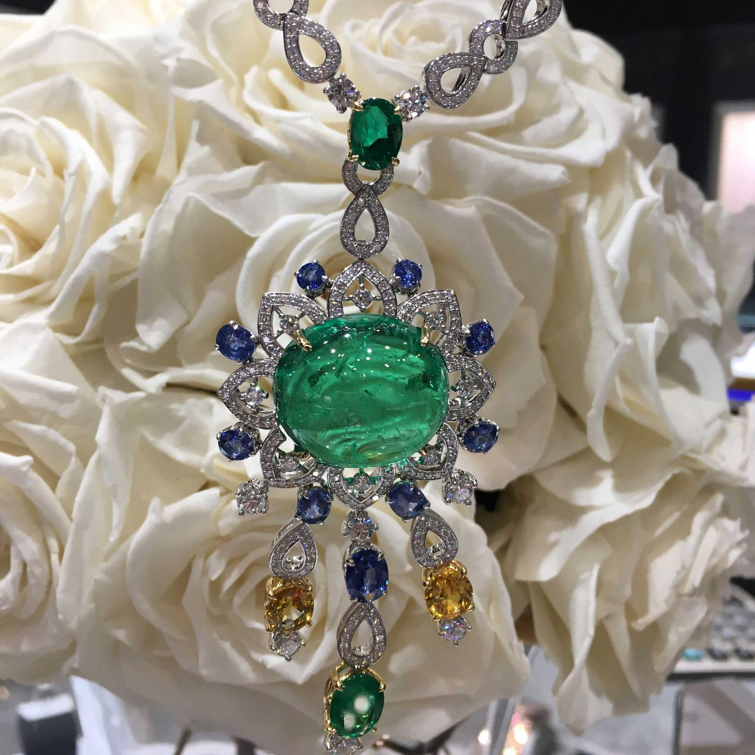 Mouawad necklace with a stunning 53 carat Colombian emerald cabochon at its centre.