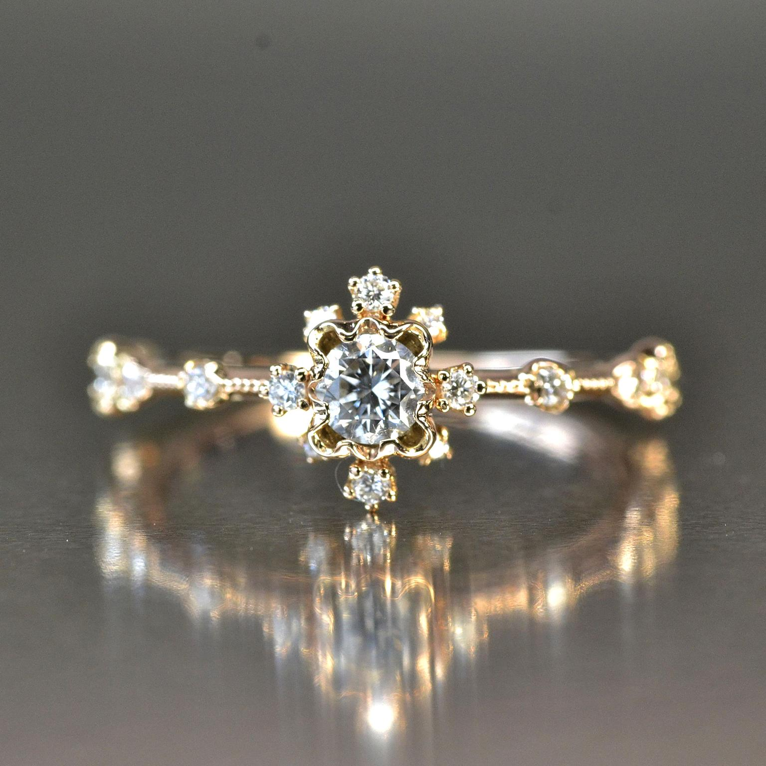 Kataoka diamond Snowflake Cluster engagement ring