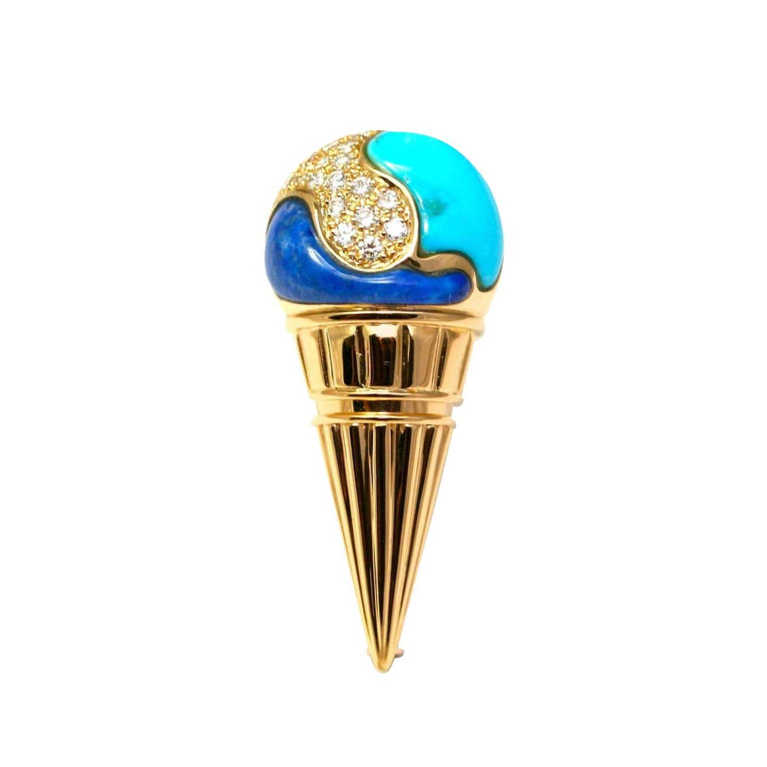 Vintage 1980s Bulgari ice cream brooch
