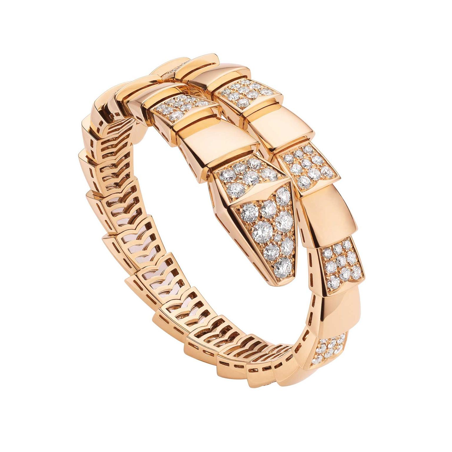 Bulgari Serpenti bracelet in rose gold with diamonds