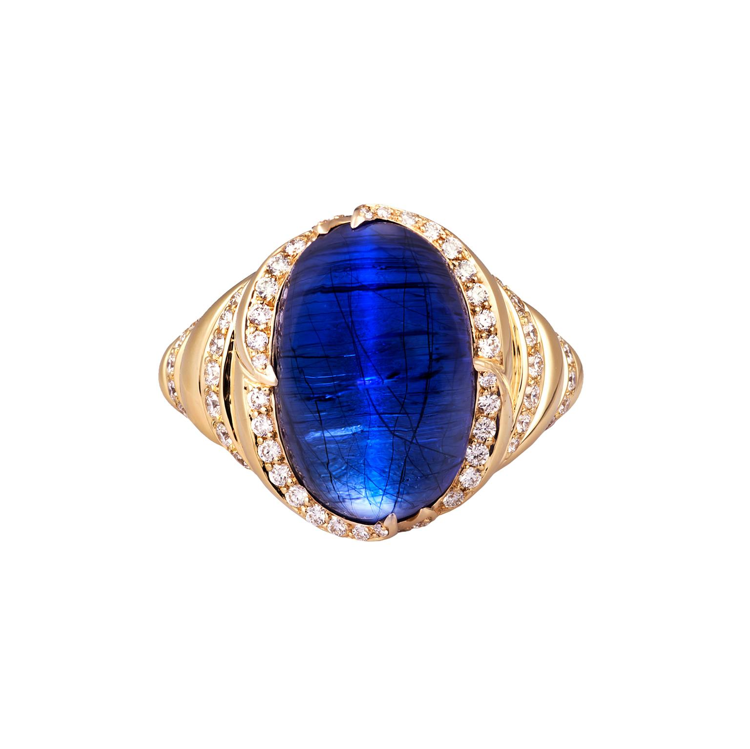 Kat Florence cat's eye tanzanite ring