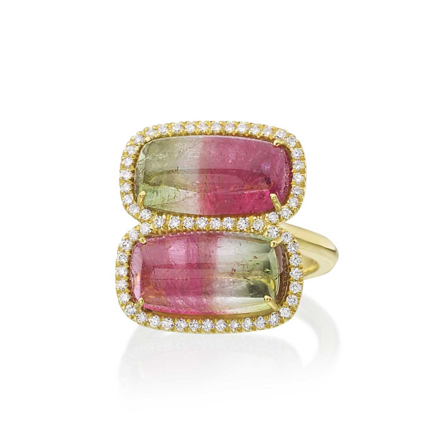 Lauren K watermelon tourmaline ring