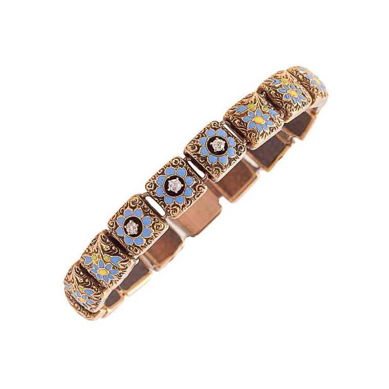Sheila Goldfinger Victorian blue and yellow enamel, diamond and gold forget-me-not bracelet