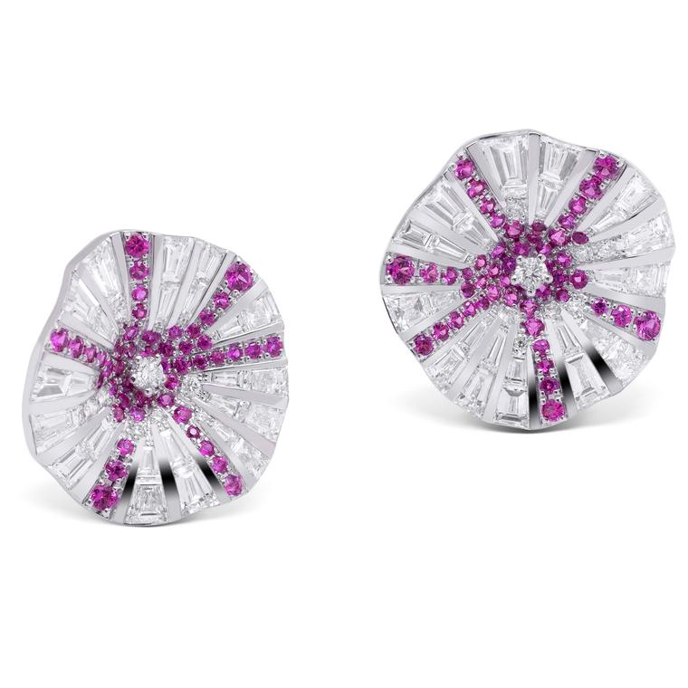 Stenzhorn Belle pink sapphire and white diamond earrings