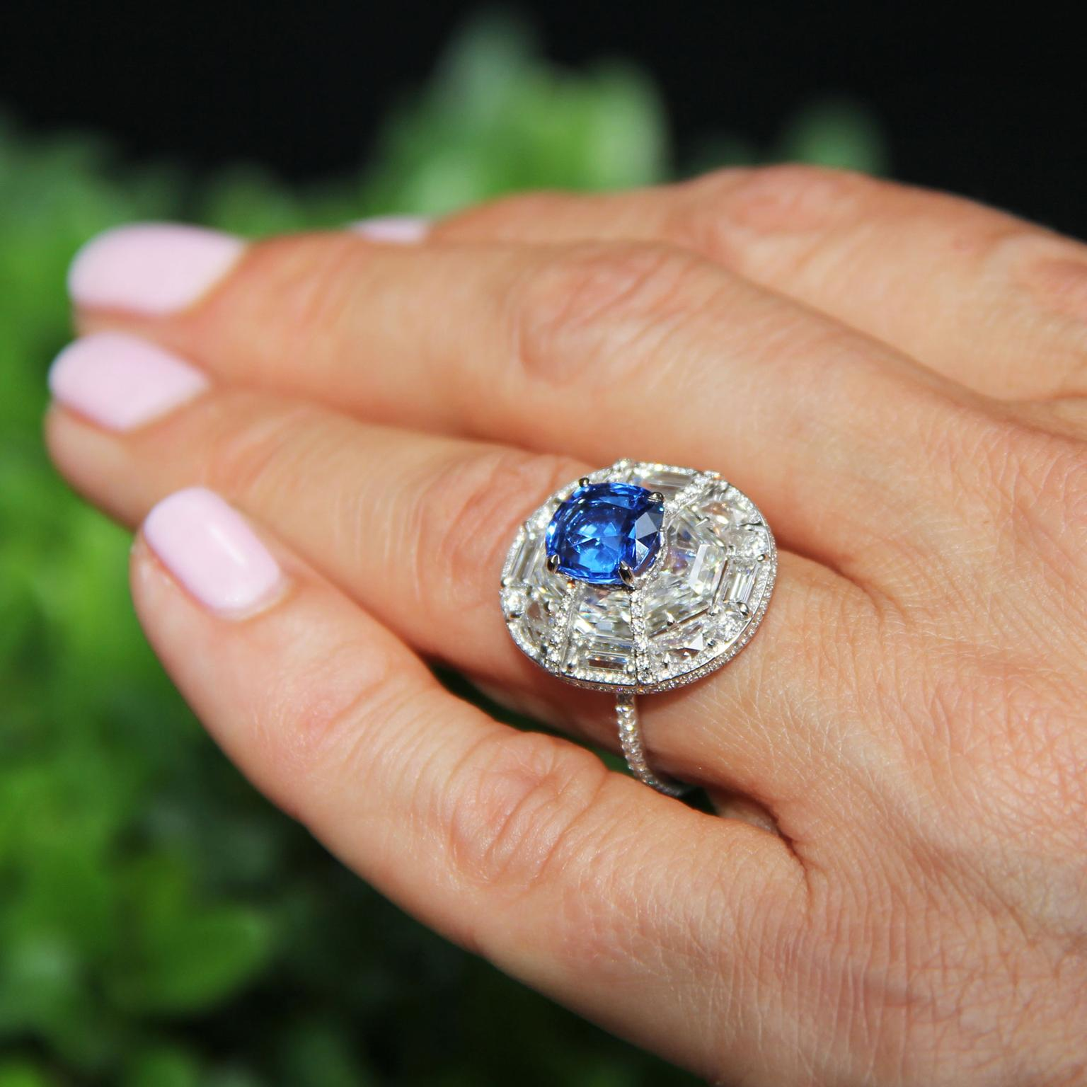 Boghossian blue spinel and diamond ring