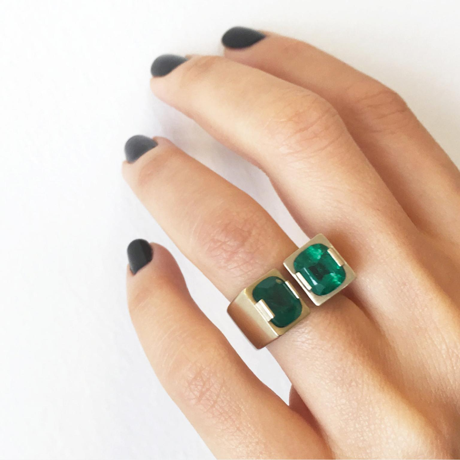 Dina Kamal Twin Colombian emerald ring