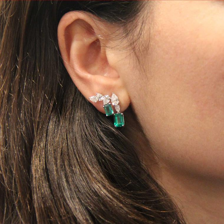 William & Son MYA diamond and emerald earrings