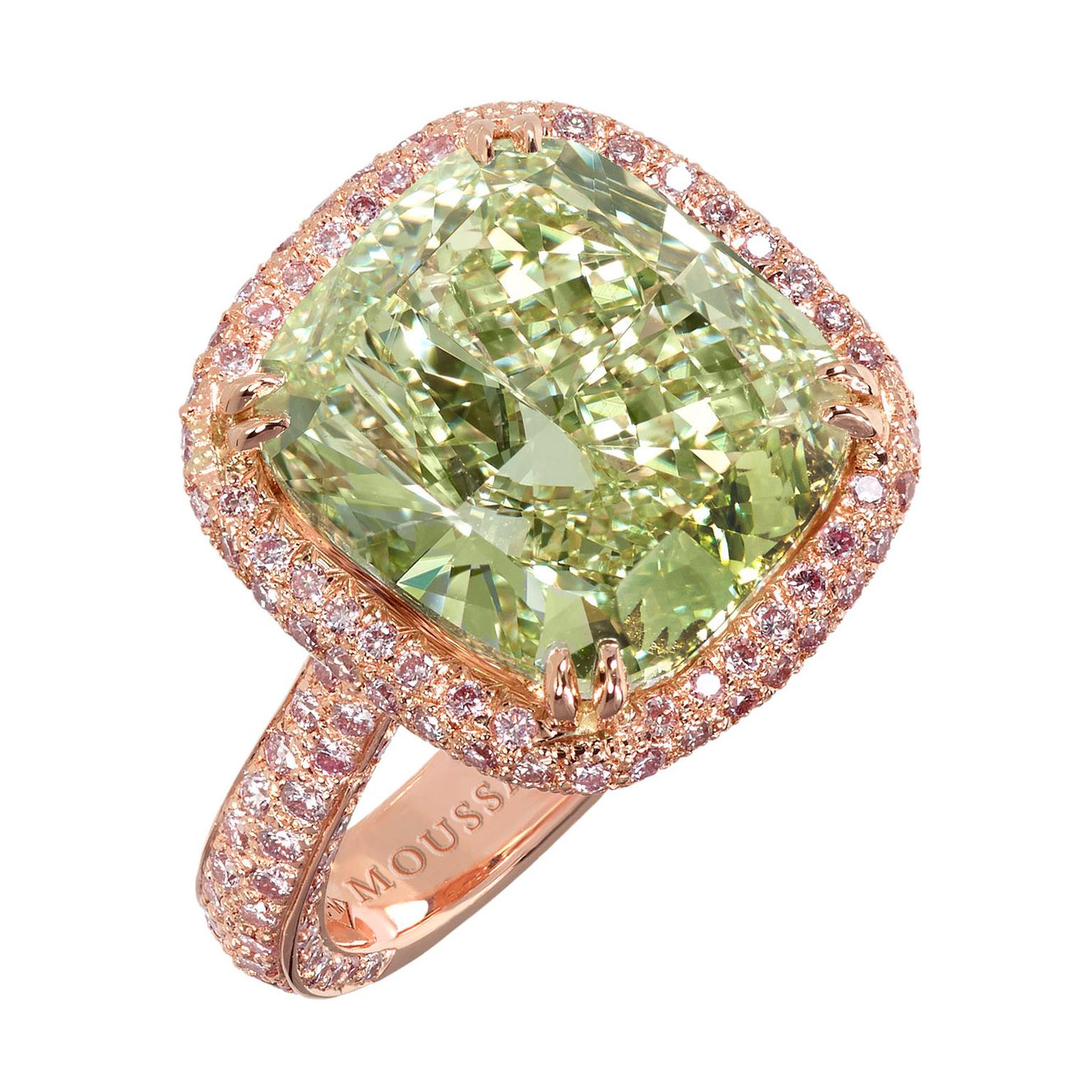 Moussaieff green diamond ring 6.51 carats