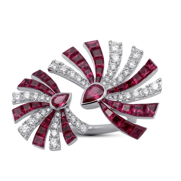 Stenzhorn Persuasion double ring in white gold with rubies and diamonds