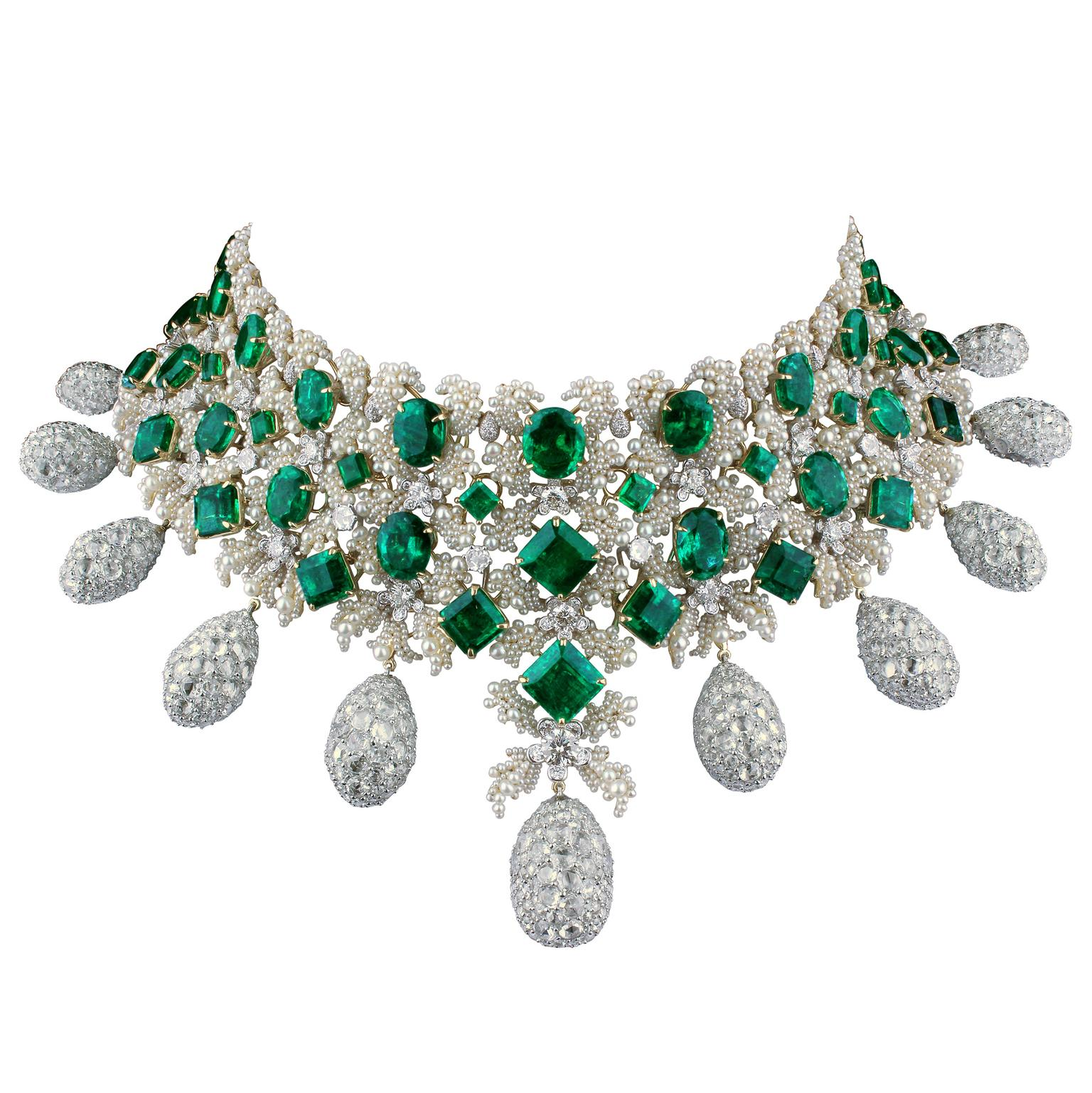 Bina Goenka emerald and pearl choker