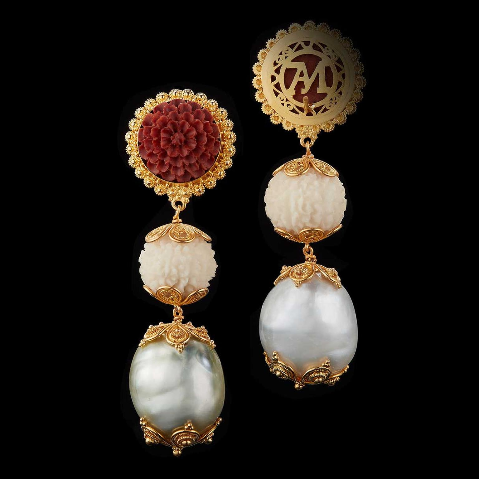 Alexandra Mor Tagua Nut And Baroque Pearl Lotus Earrings