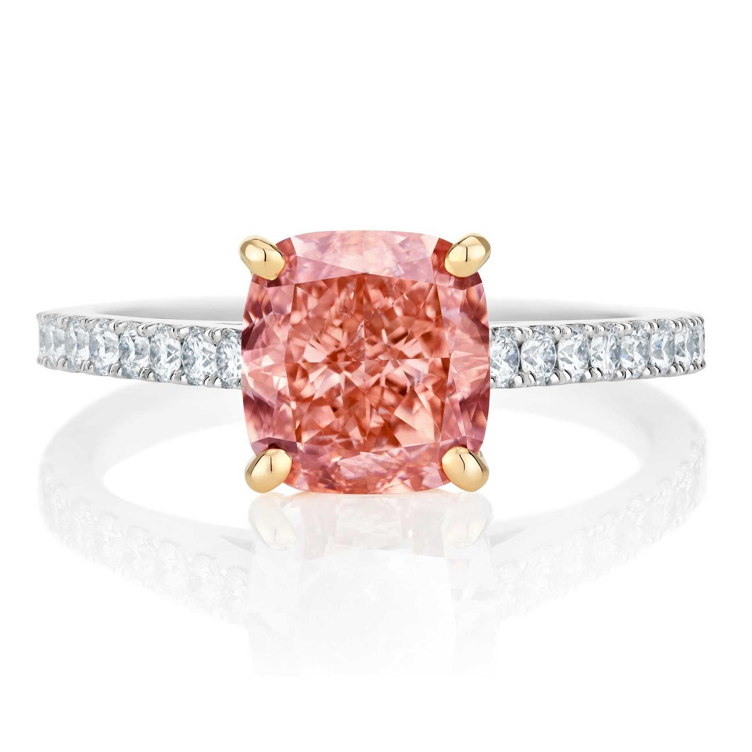 De Beers Master Diamonds orangey pink ring