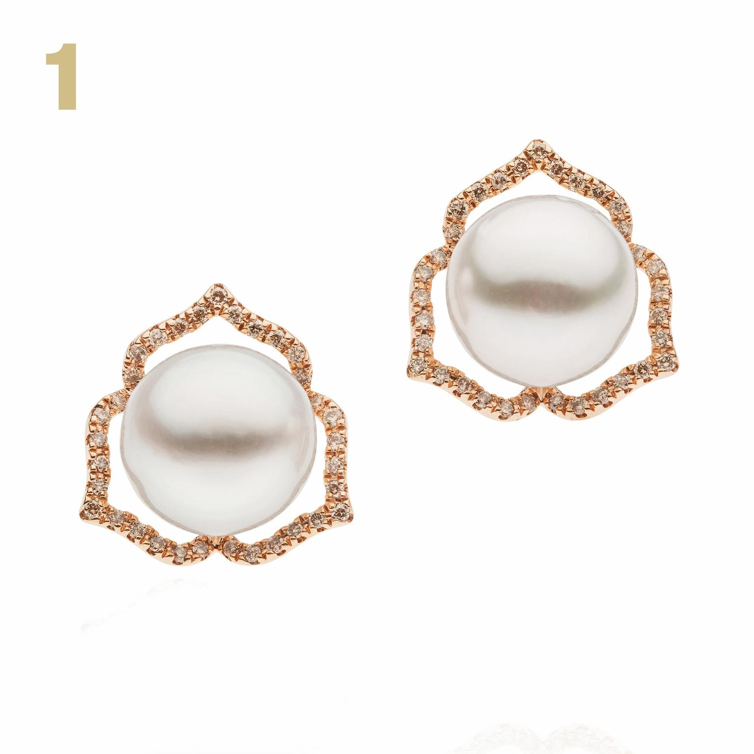 Autore diamond and pearl earrings