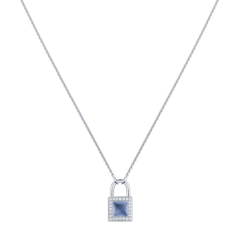 Lockit blue chalcedony pendant with diamonds