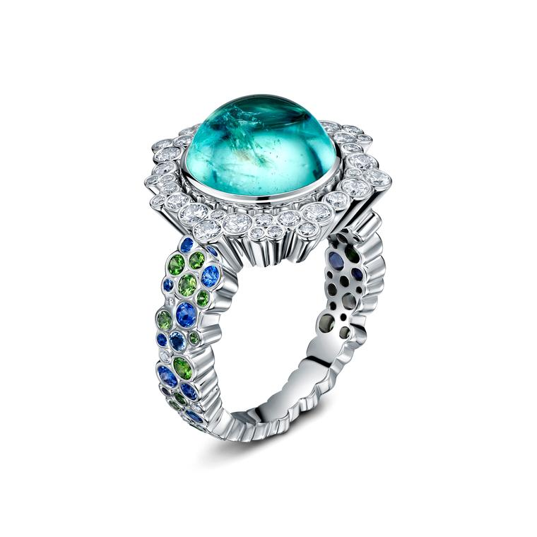 Cannelé Delire Paraiba tourmaline cocktail ring