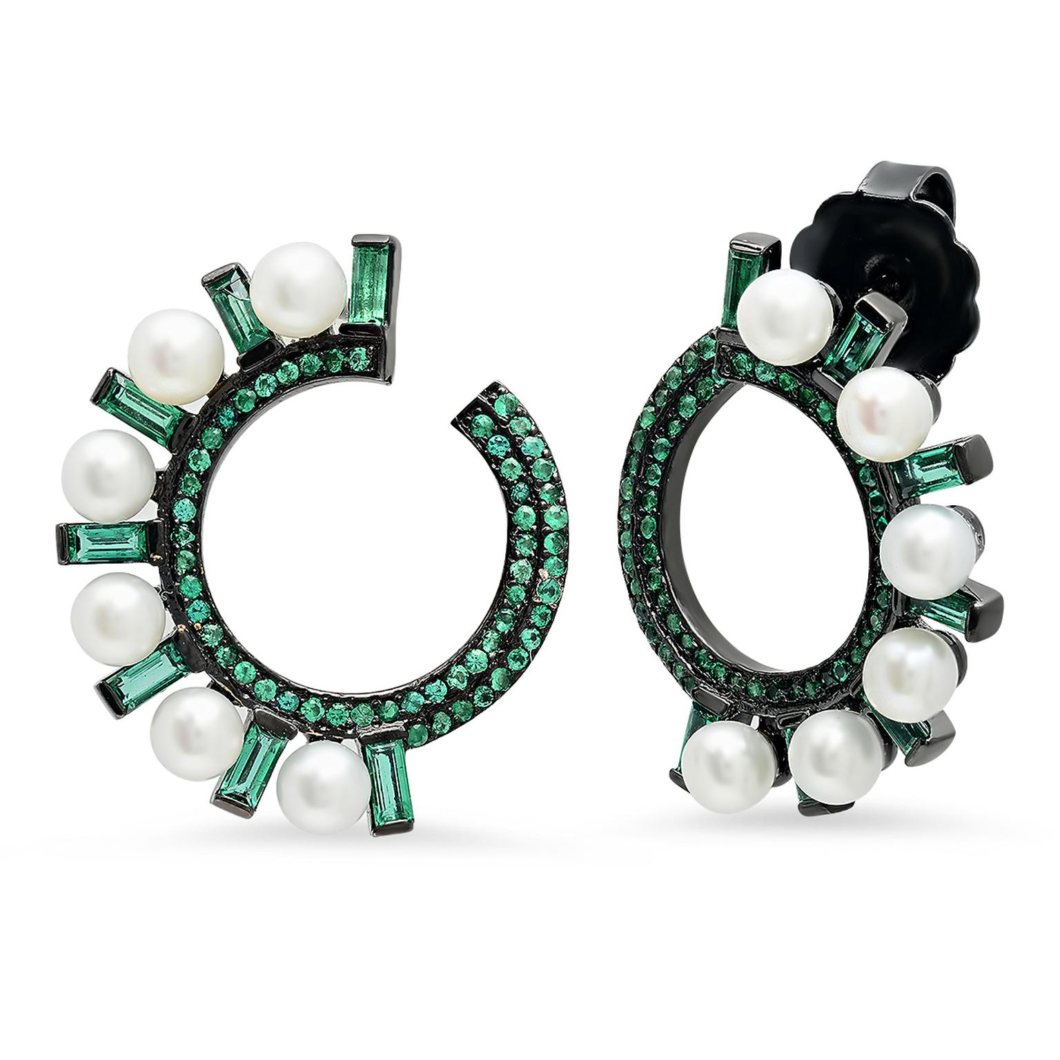 Colette Huggies emerald and pearl earrings