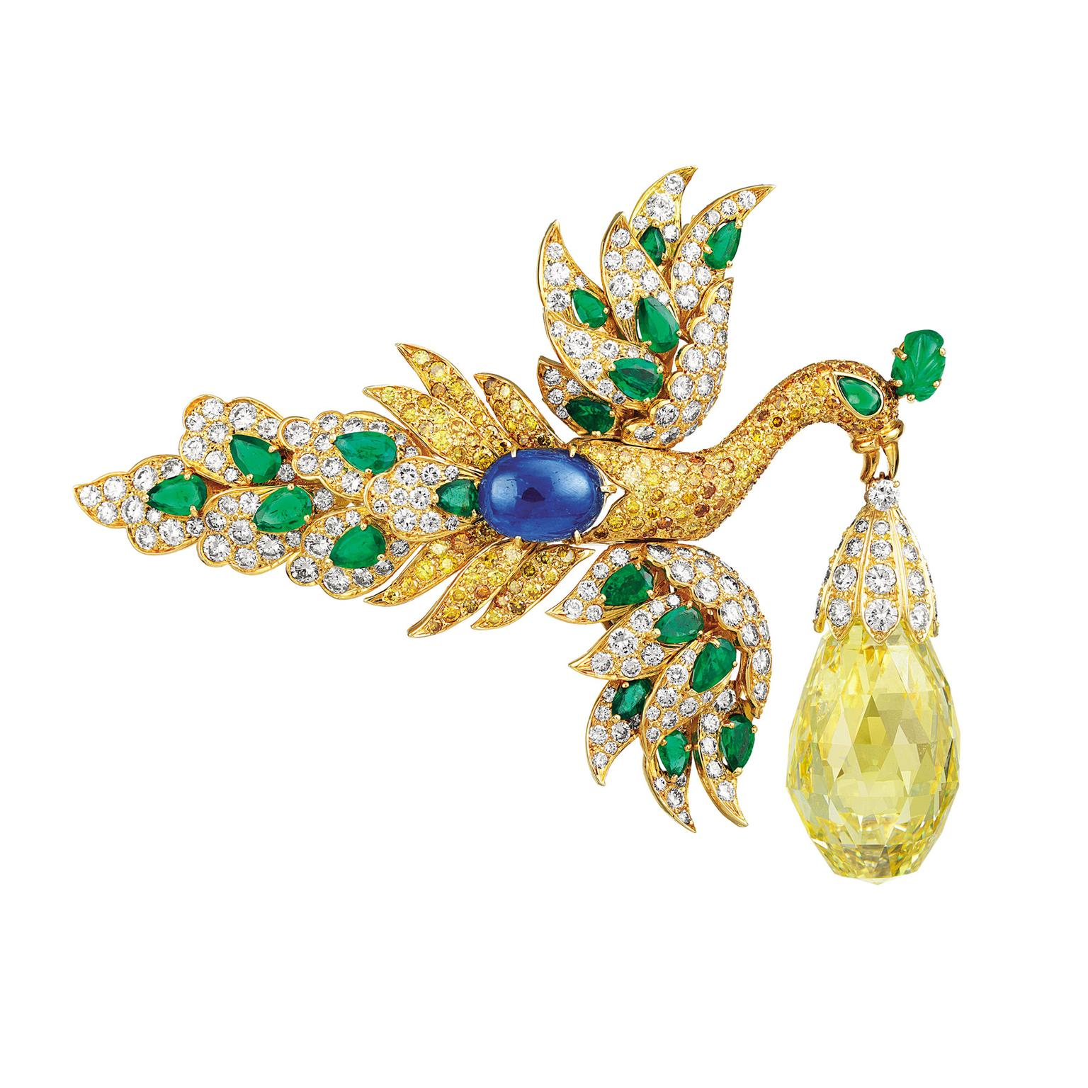 Van Cleef & Arpels yellow diamond bird clip and pendant