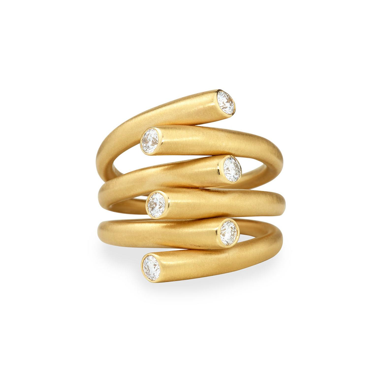 Carelle multi-row matte gold ring with diamonds