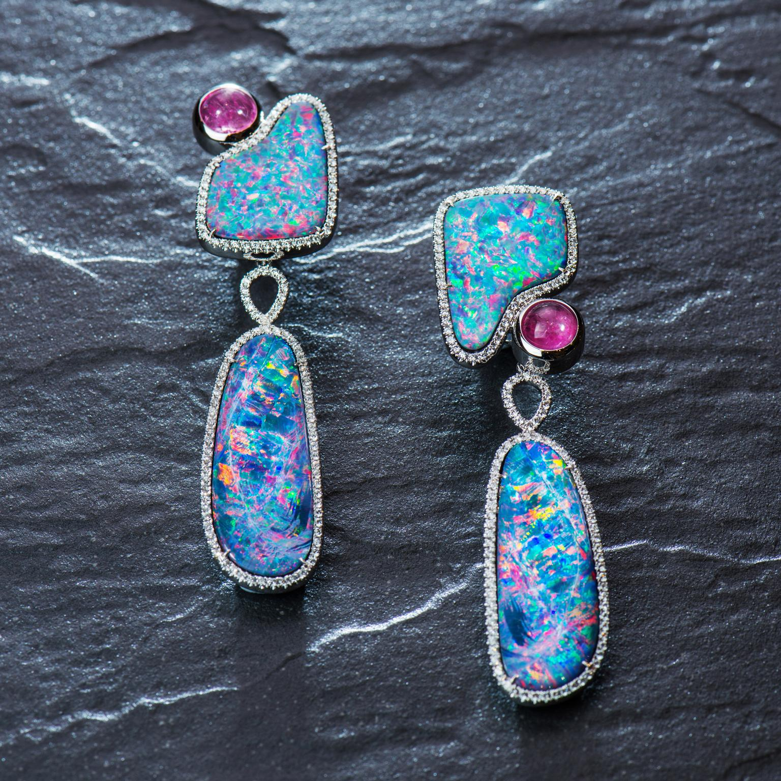 Tayma Bushfire opal earrings with diamonds and rubellites