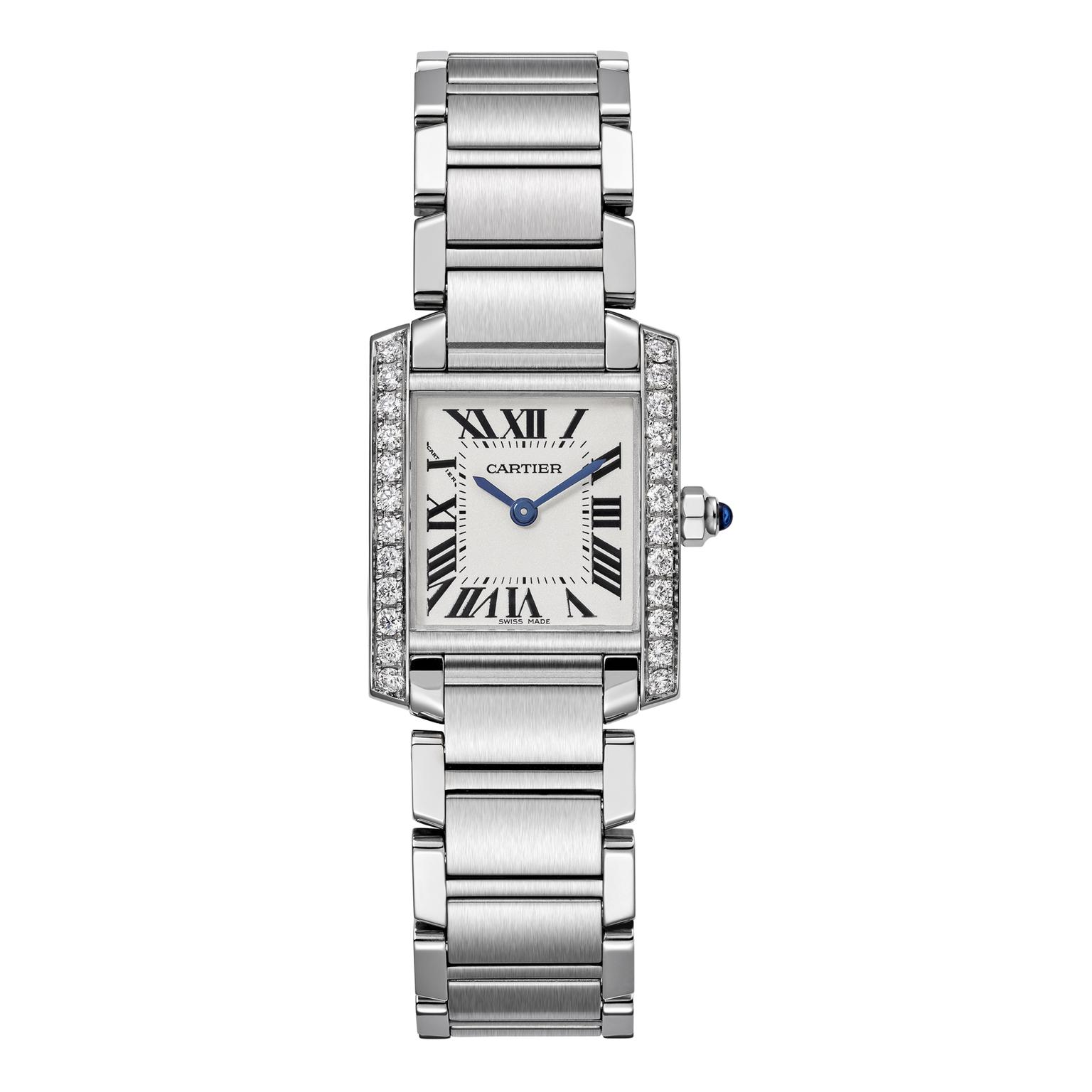 Cartier Tank Française small steel watch with diamonds