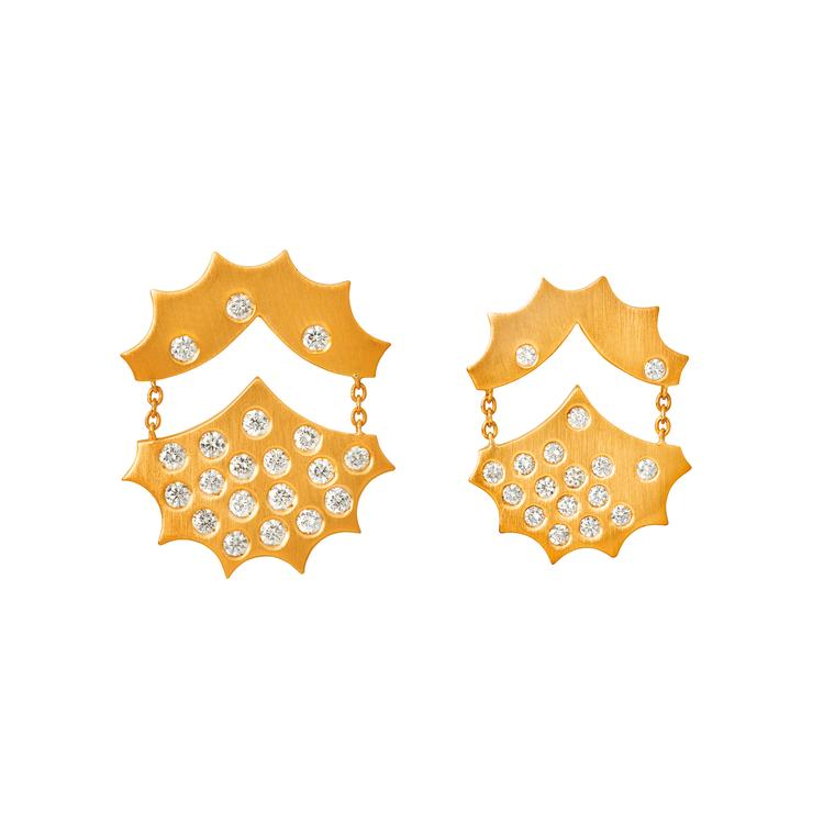 Mimata yellow gold and diamond earrings