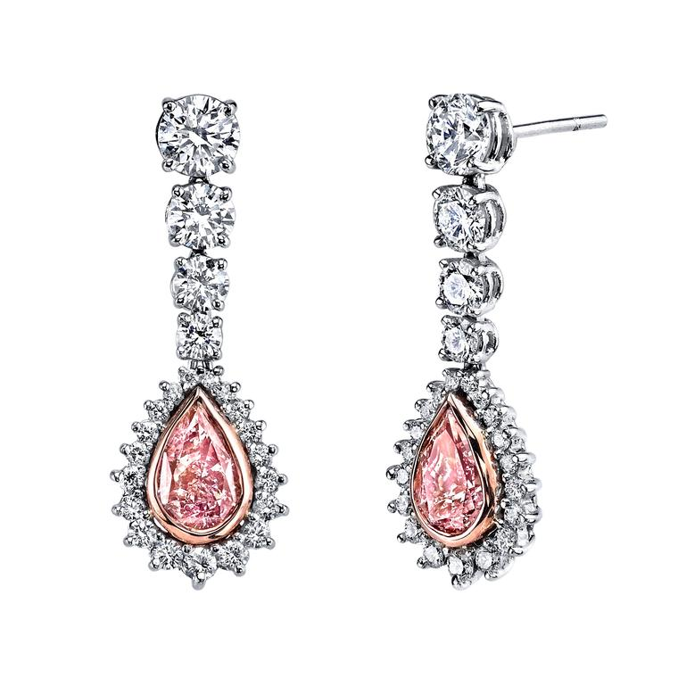 Pear-shaped drop pink diamond earrings