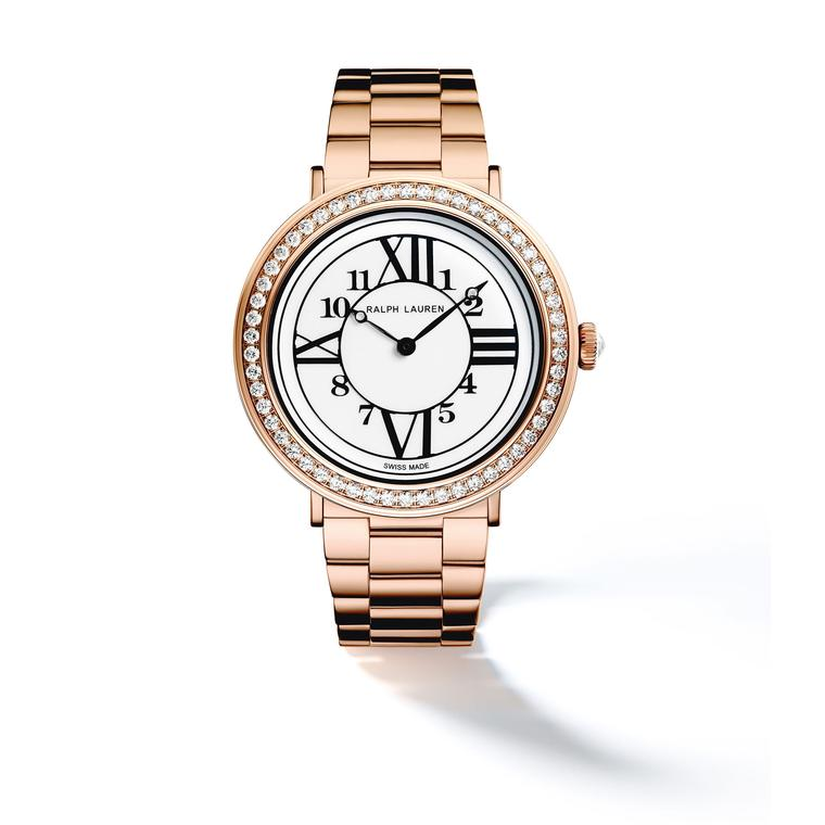 Ralph Lauren RL888 32mm in rose gold with diamonds and rose gold bracelet
