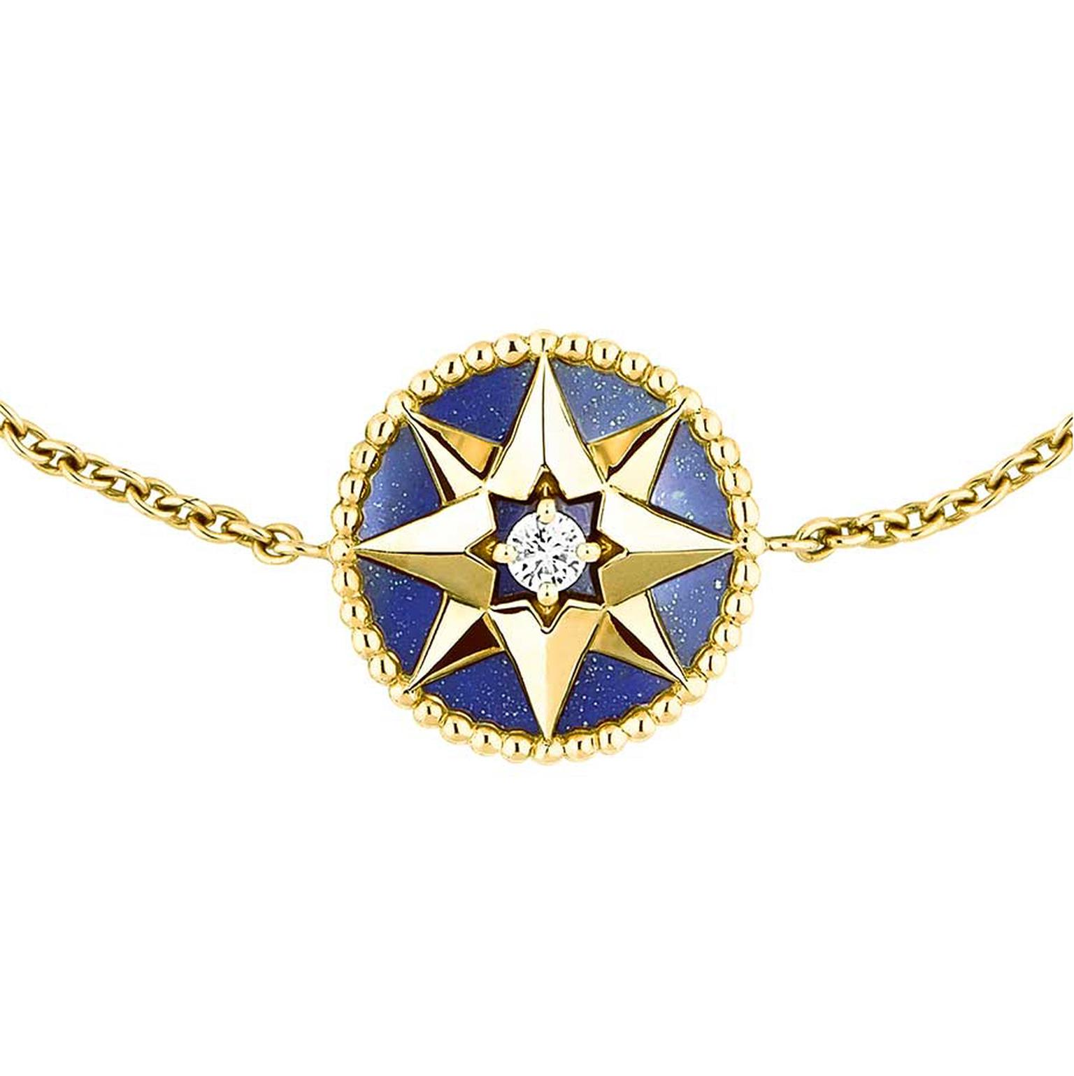 Dior Rose des Vents bracelet in yellow gold and lapis lazuli, set with a central round brilliant diamond.