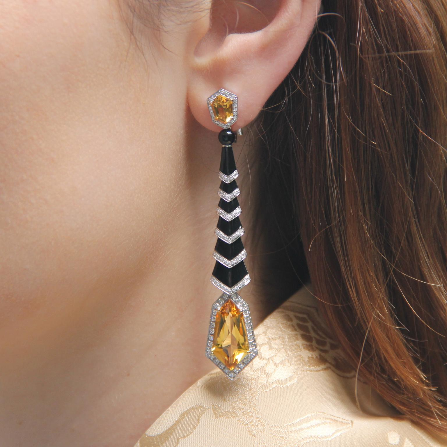Avakian Gatsby earrings in black onyx and citrines