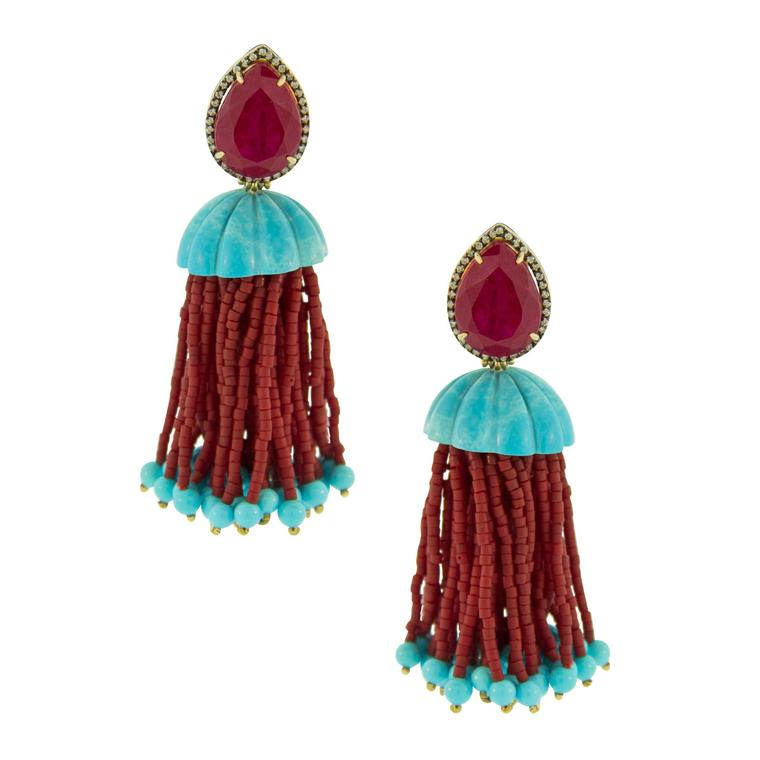 Silvia Furmanovich diamond, ruby, turquoise and jasper earrings