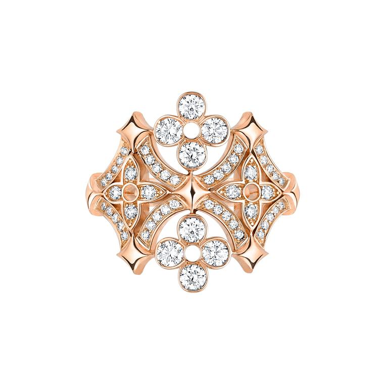 Louis Vuitton Dentelle de Monogram pink gold and diamond ring