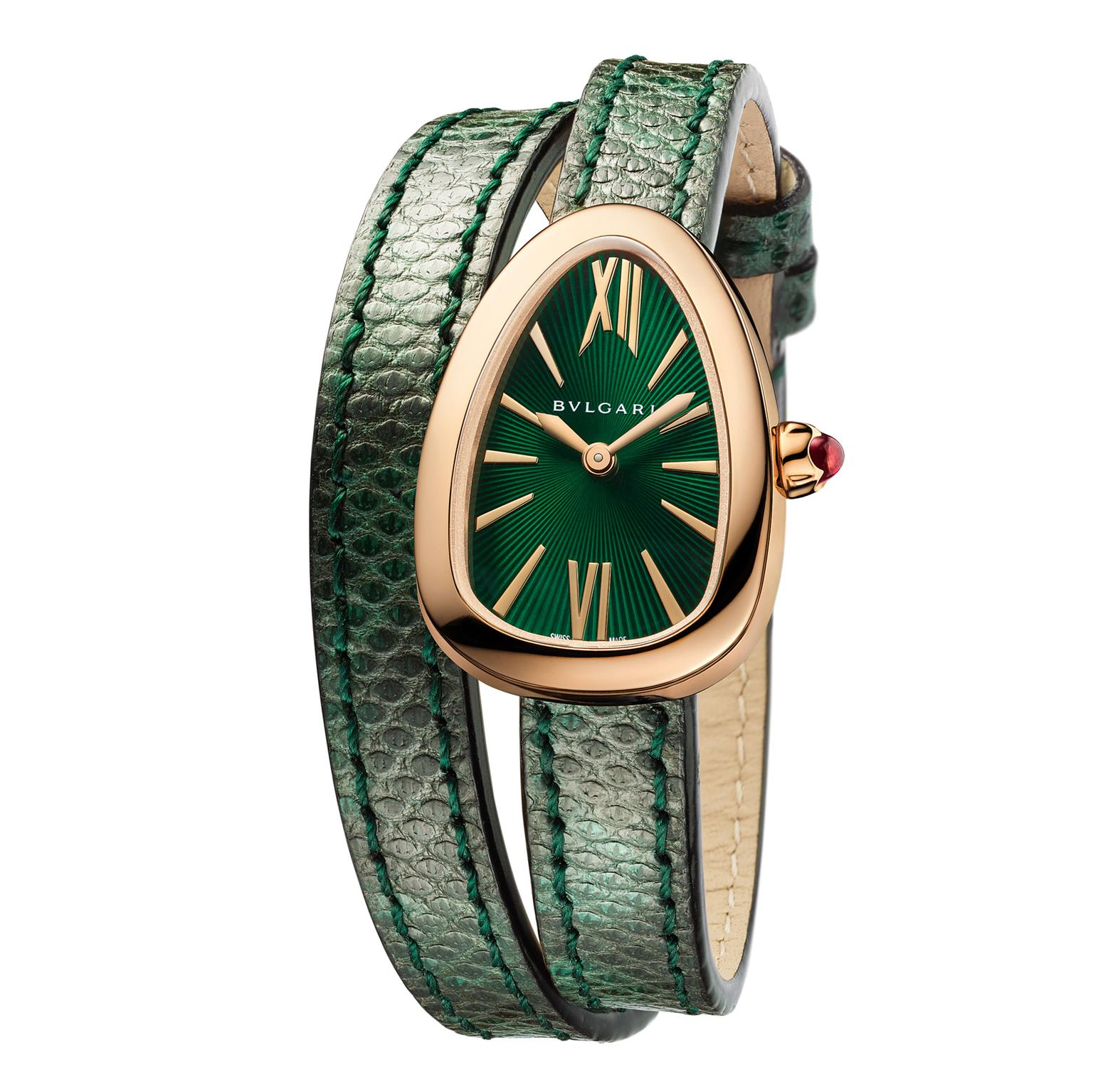 Bulgari Serpenti watch in yellow gold with green dial
