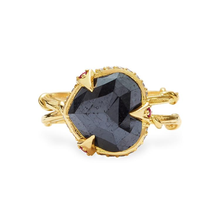 Karen Karch Intrigue black diamond vintage-style engagement ring