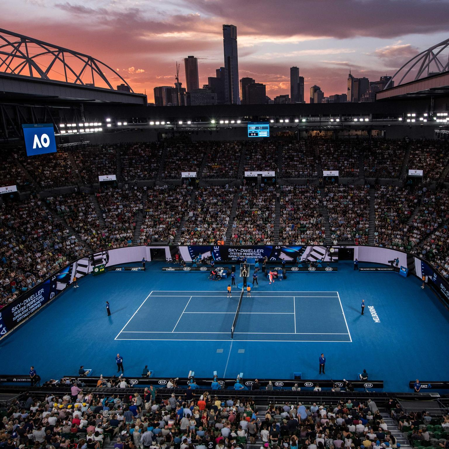 Aerial view of the Australian Open centre court 2018