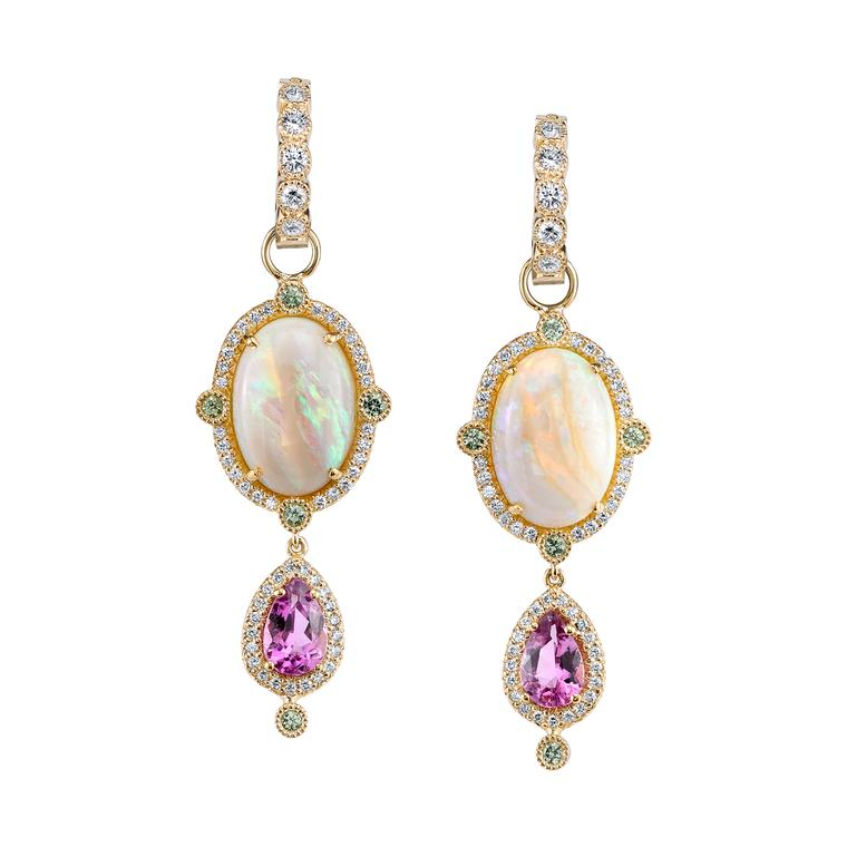 Rosa opal earrings with purple tourmalines
