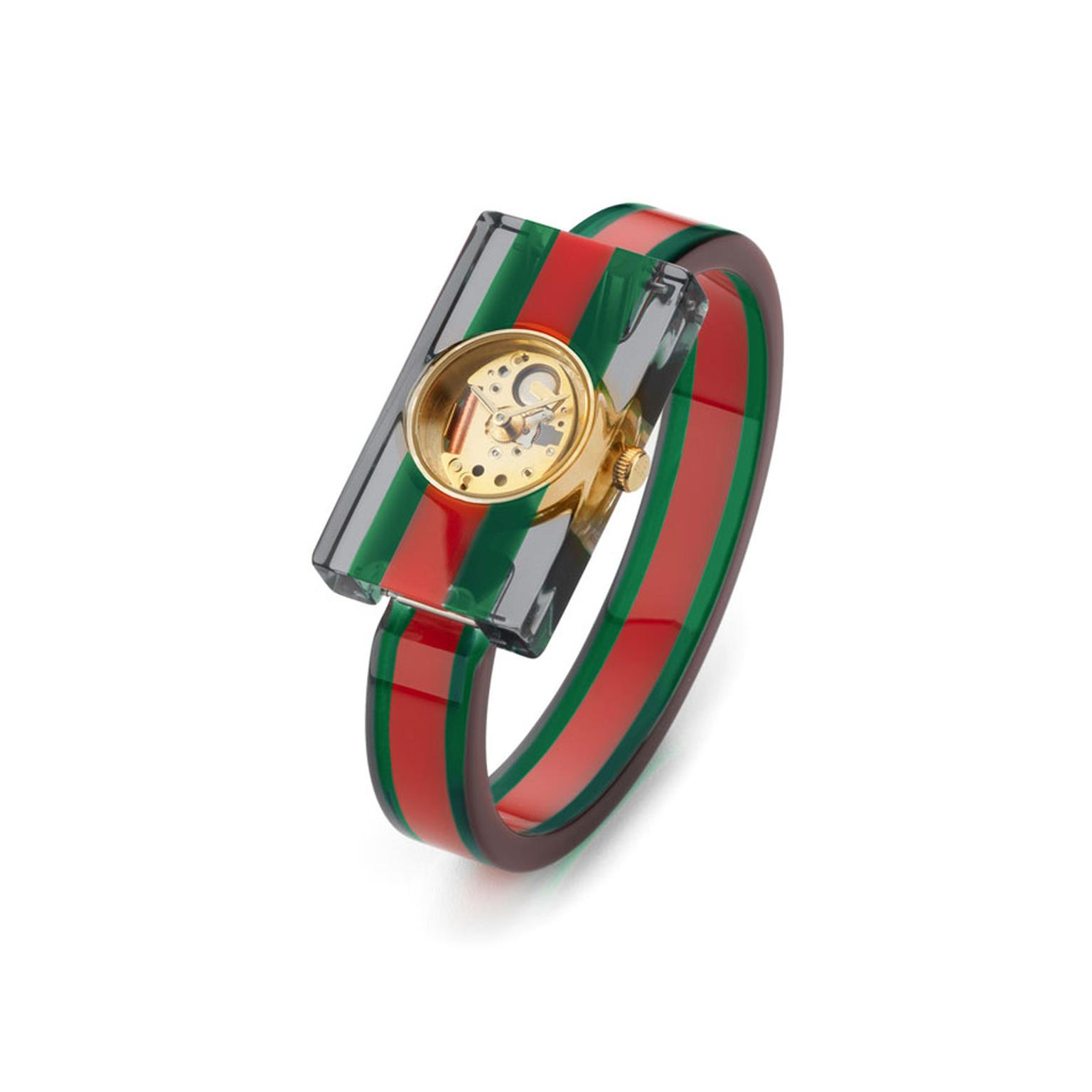 Gucci Green Red Green watch with Plexiglas
