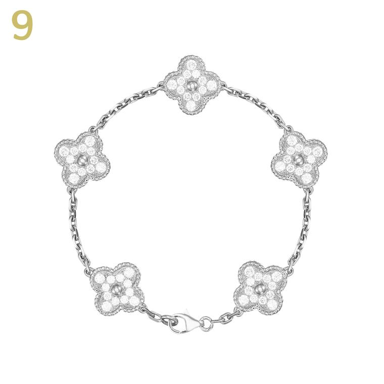 Van Cleef & Arpels white gold and diamond Alhambra bracelet