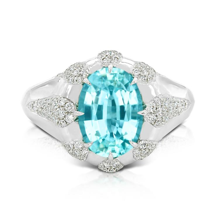 Brazilian Paraiba tourmaline ring with diamonds
