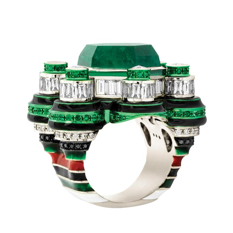 Poptails Space Station emerald and diamond cocktail ring