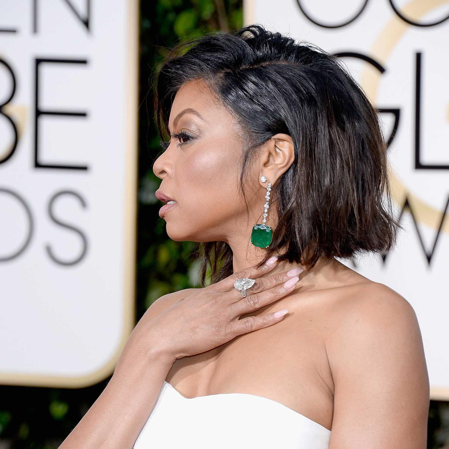 Taraji P Henson wore giant emerald drops by Kimberly McDonald for Gemfields to the Golden Globes 2016