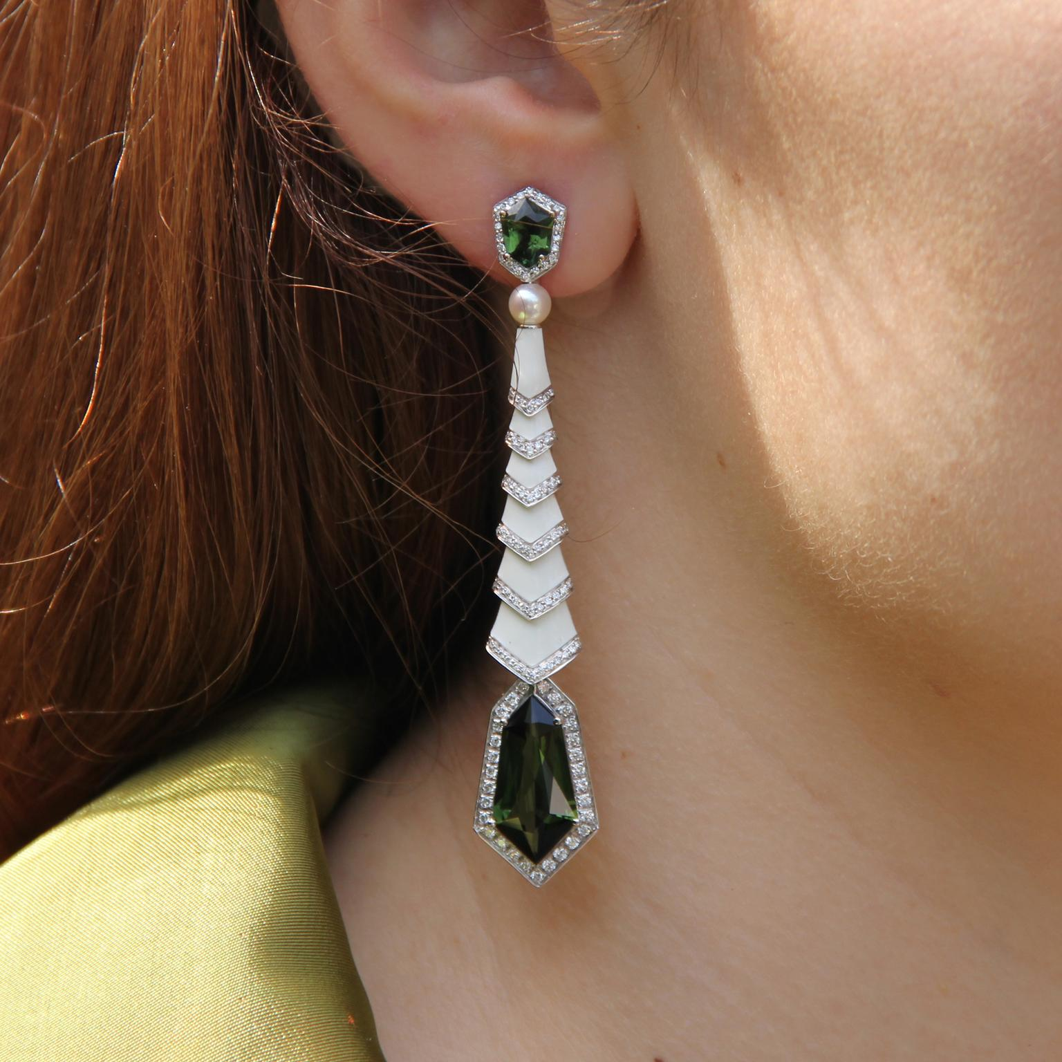 Avakian Gatsby earrings with green tourmalines