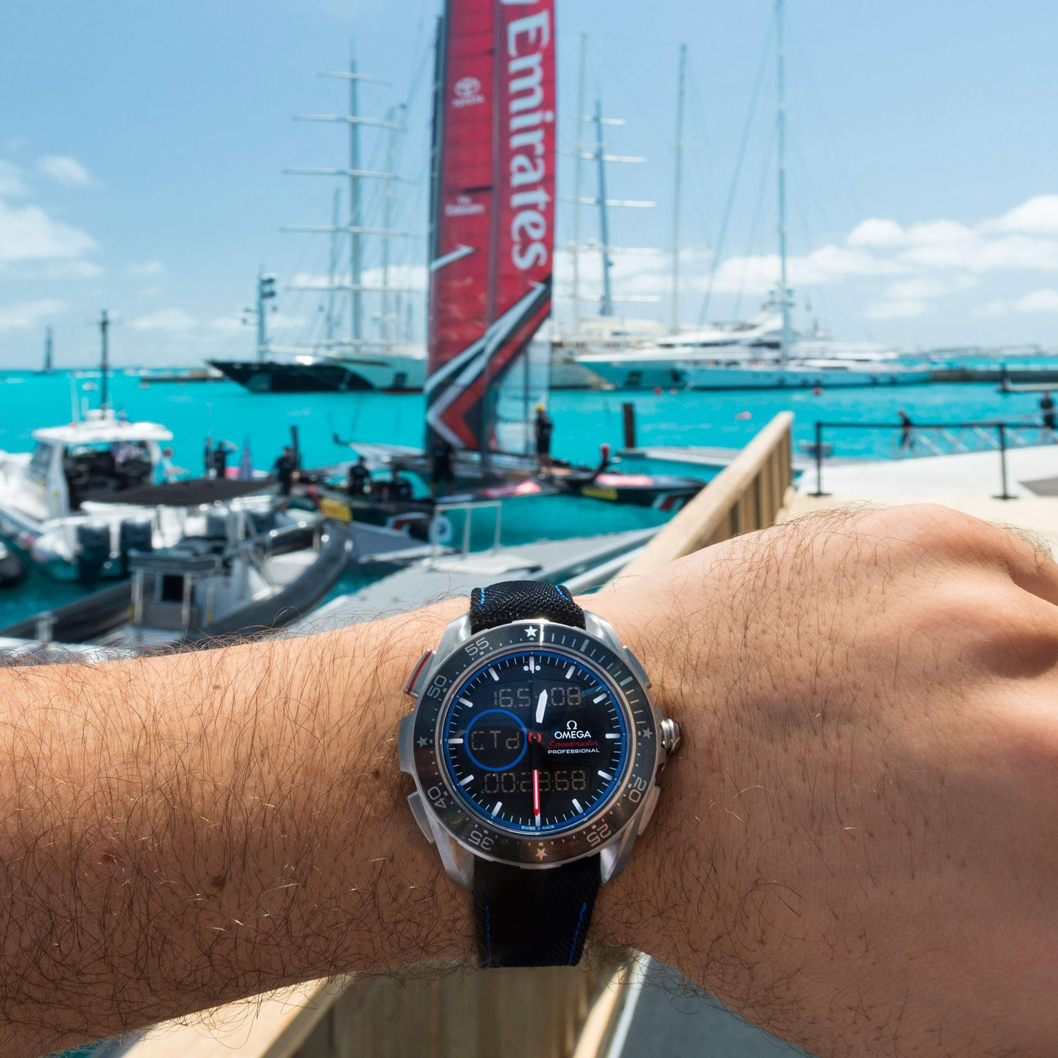 Omega Speedmaster X-33 Regatta watch at the America's Cup in Bermuda 2017