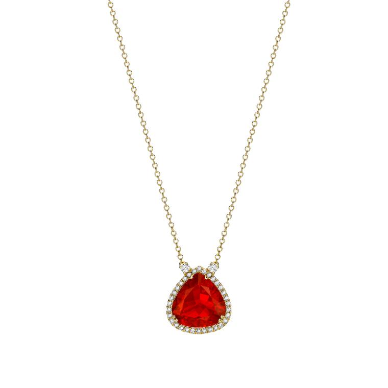 Kiki McDonough Fire opal and diamond necklace