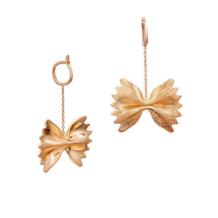 Openjart gold pasta earrings